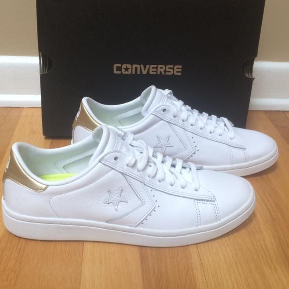 6e3fcf1d4ec9b9 👟CONVERSE All Star Pro Leather White Gold Sneaker